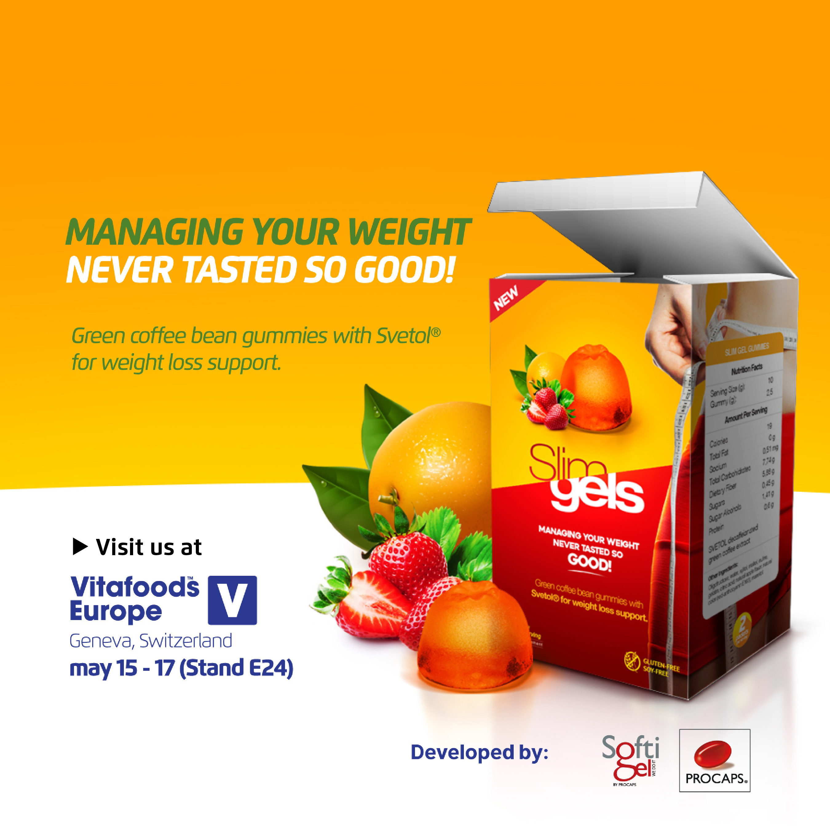 Managing your weight never tasted so good! New weight loss gummies,Visit us at booth E24 at Vitafoods 2018